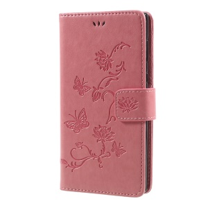 Impressum Borboleta Flor Magnetic Wallet PU Leather Stand Casing para Sony Xperia L1 - recortar