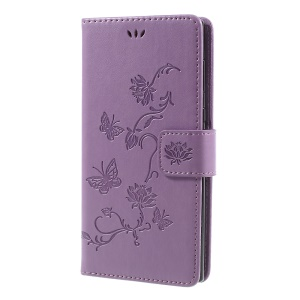 Imprint Butterfly Flower Magnetic Wallet PU Leather Cover with Stand for Sony Xperia L1 - Purple