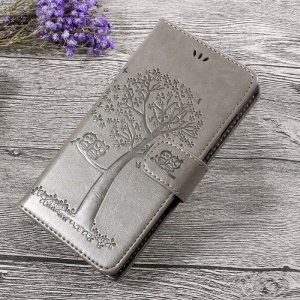 Imprint Tree Owl Magnetic Wallet Leather Stand Phone Casing with Strap for Sony Xperia L1 - Grey