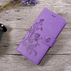 Imprint Fairy Butterfly and Flower Leather Mobile Cover with Card Slots for Sony Xperia L1 - Purple