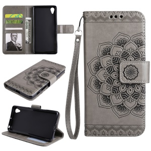 Imprinted Mandala Pattern PU Leather Wallet Cover with Stand for Sony Xperia XA/XA Dual - Grey