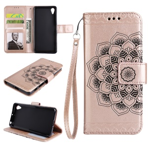 Imprinted Mandala Pattern PU Leather Wallet Casing Cover with Stand for Sony Xperia XA/XA Dual - Rose Gold