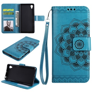 Imprinted Mandala Pattern PU Leather Wallet Phone Shell with Stand for Sony Xperia XA1 - Blue