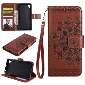 Imprinted Mandala Pattern PU Leather Wallet Phone Accessory Shell with Stand for Sony Xperia XA1 - Brown