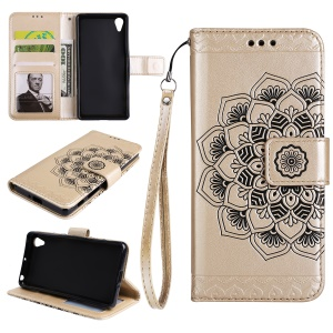 Imprinted Flower Pattern PU Leather Stand Wallet Cell Phone Cover for Sony Xperia XA1 Ultra - Gold