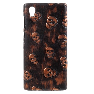 PU Leather Coated Plastic Mobile Shell for Sony Xperia L1 - Skulls / Brown