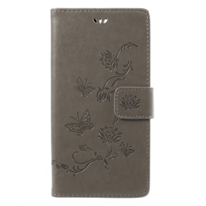 Imprint Butterfly Flower Magnetic Wallet PU Leather Stand Case for Sony Xperia XZ Premium - Grey