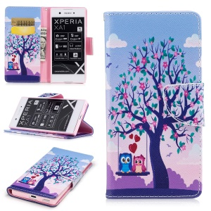 Pattern Printing Magnetic Stand Leather Wallet Protective Phone Casing for Sony Xperia XA1 - Tree with Blossoming Flower and Two Owls