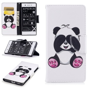 Pattern Printing Folio Magnetic Leather Wallet Phone Casing with Stand for Sony Xperia XA1 - Panda