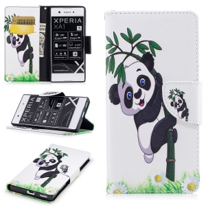 Pattern Printing Magnetic Leather Wallet Protective Phone Cover with Stand for Sony Xperia XA1 - Panda on Bamboo