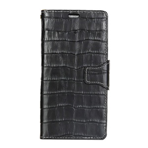 Crocodile Texture Genuine Leather Wallet Phone Cover with Card Slots for Sony Xperia X Compact - Black
