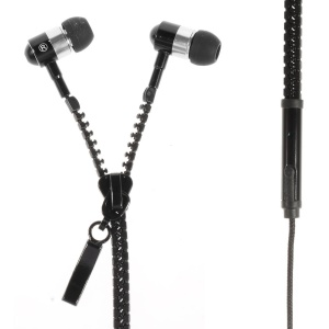 Zipper Design 3.5mm In-ear Earphone with Mic for iPhone iPad Samsung HTC Huawei Etc - Black