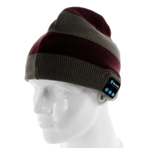 Sports Hands-free Bluetooth Headphone Warm Knit Hat - Grey & Red Stripes