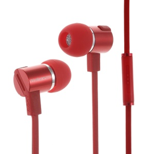 WALLYTECH W800 Flat Cable 3.5mm In-ear Stereo Earphone w/ Mic for iPhone Samsung LG - Red