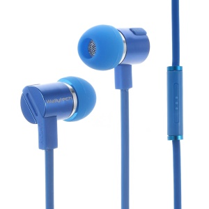 WALLYTECH W800 Flat Cable 3.5mm In-ear Stereo Earphone w/ Mic for iPhone Samsung LG - Blue