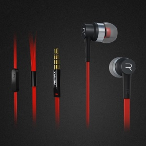 REMAX 535 3.5mm In-ear Metallic Stereo Earphone Headset with Mic for iPhone Samsung Sony - Red / Black