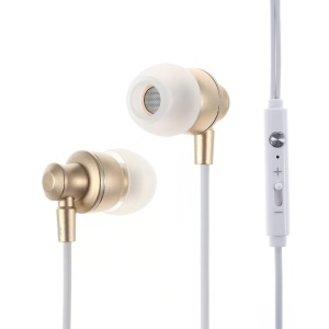 IMI M300 3.5mm Metal Skin Earbud Earphone with Mic for iPhone - Gold