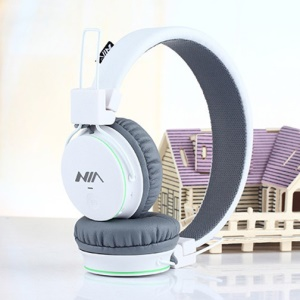 NIA X2 4-in-1 Bluetooth Hands-free Headphone Support Micro SD Player / FM Radio / 3.5mm Cable - White