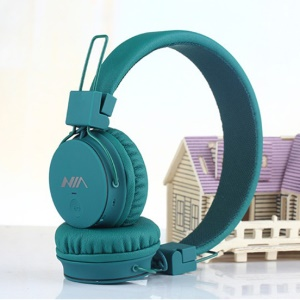 NIA X2 4-in-1 Wireless Bluetooth Hands-free Headphone Support Micro SD Player / FM Radio - Green