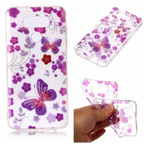 Clear IMD Patterned Glitter Powder TPU Phone Accessory Casing for LG G6 - Butterfly