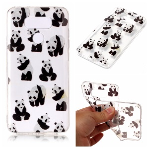 Clear IMD Patterned Glitter Powder TPU Phone Casing Cover for LG G6 - Panda