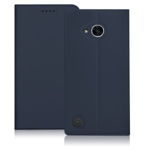 For LG X Power 2 Auto Wake & Sleep PU Leather Stand Phone Case with Card Holder - Dark Blue