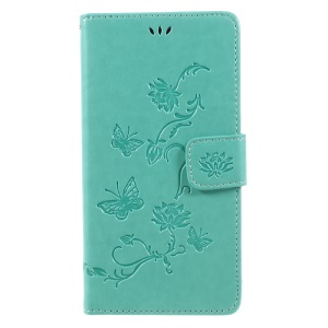 Imprint Butterfly Flowers Magnetic Wallet Leather Stand Cell Phone Cover for LG V30 - Green