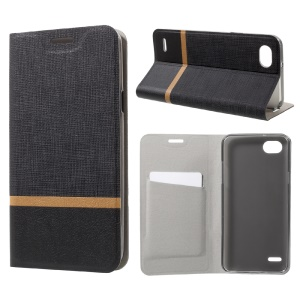 Cross Pattern Leather Card Holder Phone Case (Built-in Steel Sheet) for LG Q6 / Q6 Plus - Black