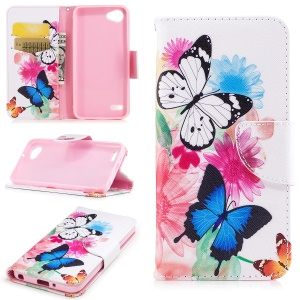 Pattern Printing Card Slots Leather Protection Mobile Casing for LG Q6 M700N (EU Version) / Q6 Plus - Butterflies and Flowers