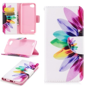 Pattern Printing Wallet Stand Leather Case Mobile Phone Accessory for LG Q6 M700N (EU Version) / Q6 Plus - Petals Pattern