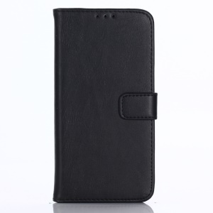 Vintage Style Crazy Horse Stand Leather Wallet Cell Phone Case for LG Q6 M700N (EU Version) / Q6 Plus - Black