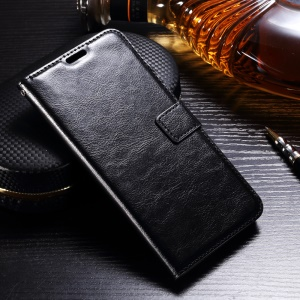 Crazy Horse Leather Wallet Stand Case para LG V30 - negro