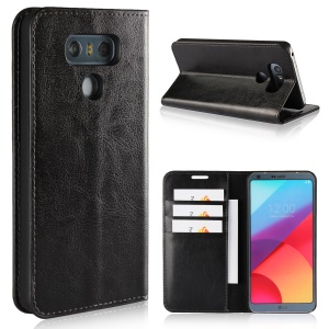 Crazy Horse Texture Wallet Stand Genuine Leather Case for LG G6 - Black