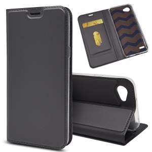 Magnetic Adsorption Flip Stand Leather Case with Card Slot for LG Q6 Plus/LG Q6 M700N (EU Version) - Black