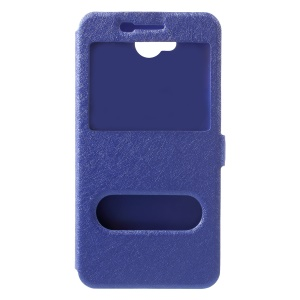 Silk Texture Dual Window Leather Cellphone Cover for LG X power2 - Blue