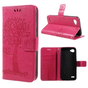 Imprint Tree Owl Magnetic Wallet PU Leather Stand Cover for LG Q6 M700N (EU Version)/Q6 Plus - Rose