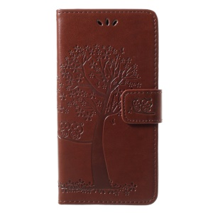 Imprint Owls and Tree Magnetic PU Leather Case Protector for LG Q8 - Brown