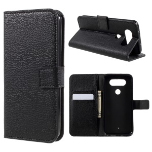 Litchi Texture Wallet Stand Leather Mobile Phone Case for LG Q8