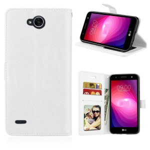 Crazy Horse PU Leather 3 Card Slots Cellphone Cover for LG X power2 - White