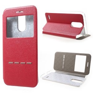 Slide to Answer View Window Leather Flip Cover for LG K4 (2017) EU Version - Red