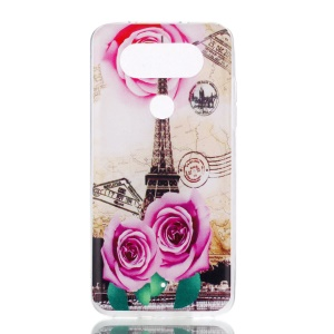 For LG Q8 Pattern Printing Soft TPU Case - Eiffel Tower and Roses