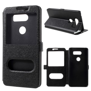 Silk Texture Dual Window Stand Leather Case for LG V30 - Black