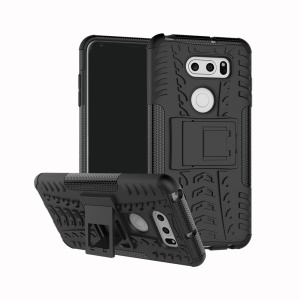Anti-slip PC + TPU Hybrid Case with Kickstand for LG V30 - Black