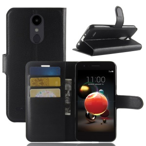 Litchi Skin Wallet Leather Stand Case for LG Aristo 2 - Black