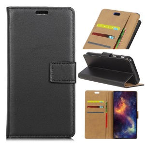 PU Leather Wallet Stand Mobile Phone Case for LG K8 (2018) - Black