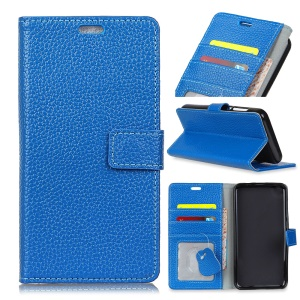 Litchi Texture Genuine Leather Wallet Stand Casing for LG K8 (2018) - Blue