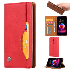PU Leather Auto-absorbed Stand Wallet Phone Cover for LG K10 (2018) - Red