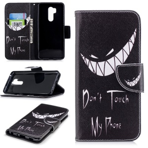 Pattern Printing PU Leather Wallet Stand Case for LG G7 ThinQ - Angry Face