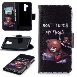 Pattern Printing PU Leather Wallet Stand Cover for LG G7 ThinQ - Bear and Do not Touch My Phone