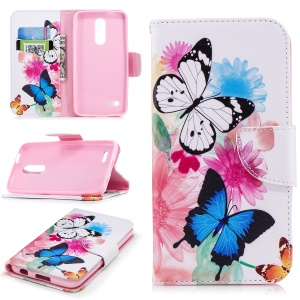 Pattern Printing PU Leather Wallet Stand Shell for LG K10 (2018) - Butterflies and Flowers